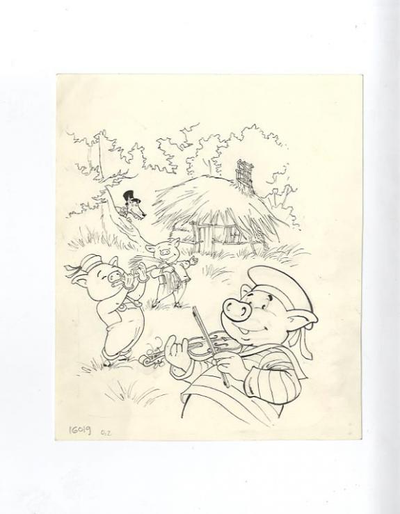 3 petits cochons dessin n b couleur laurent vicomte - Dessin anime les 3 petit cochons ...