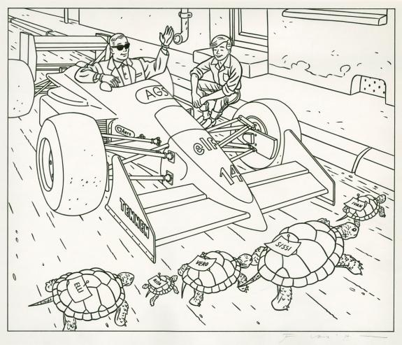 "Jean-Claude Floc'h - illustration originale ""Gonfaron tortue"
