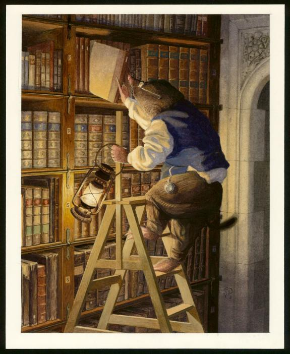 "Christopher Dunn - Illustration originale, ""Night-Time Readi"