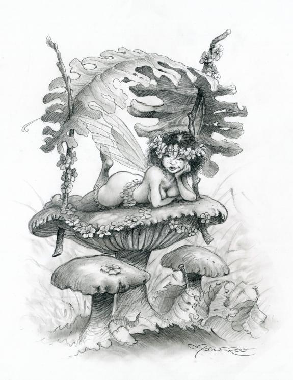 Illustration originale f e l 39 ombrelle l 39 heure des f es pascal mogu rou - Dessin de fee en noir et blanc ...