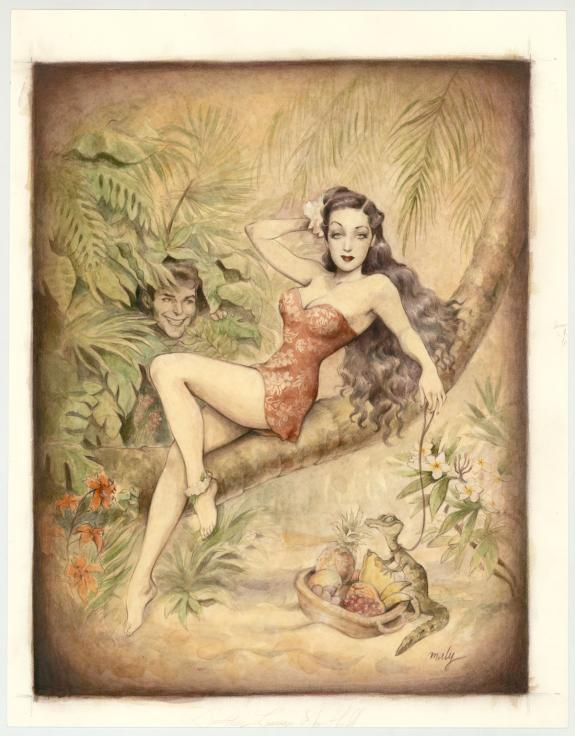 "Maly Siri - Pin-up Art, Illustration originale intitulée ""Th"