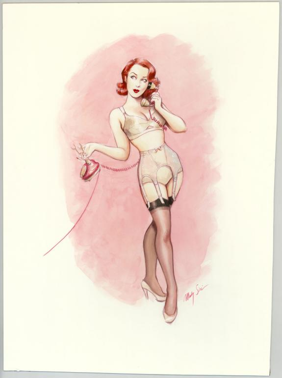 Maly Siri - Pin-up Art, Illustration originale sur papier Ar