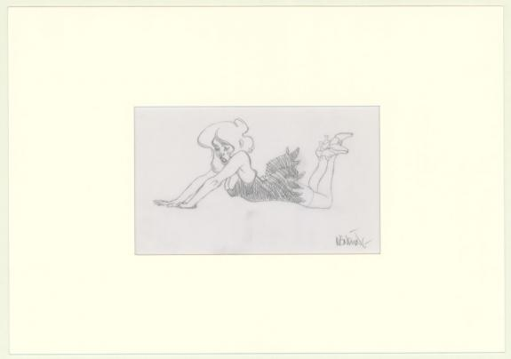 Claire Wendling - Illustration originale, jeune fille allong