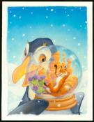 "Scott Gustafson - Peinture originale "" The Fox and the Pengu"